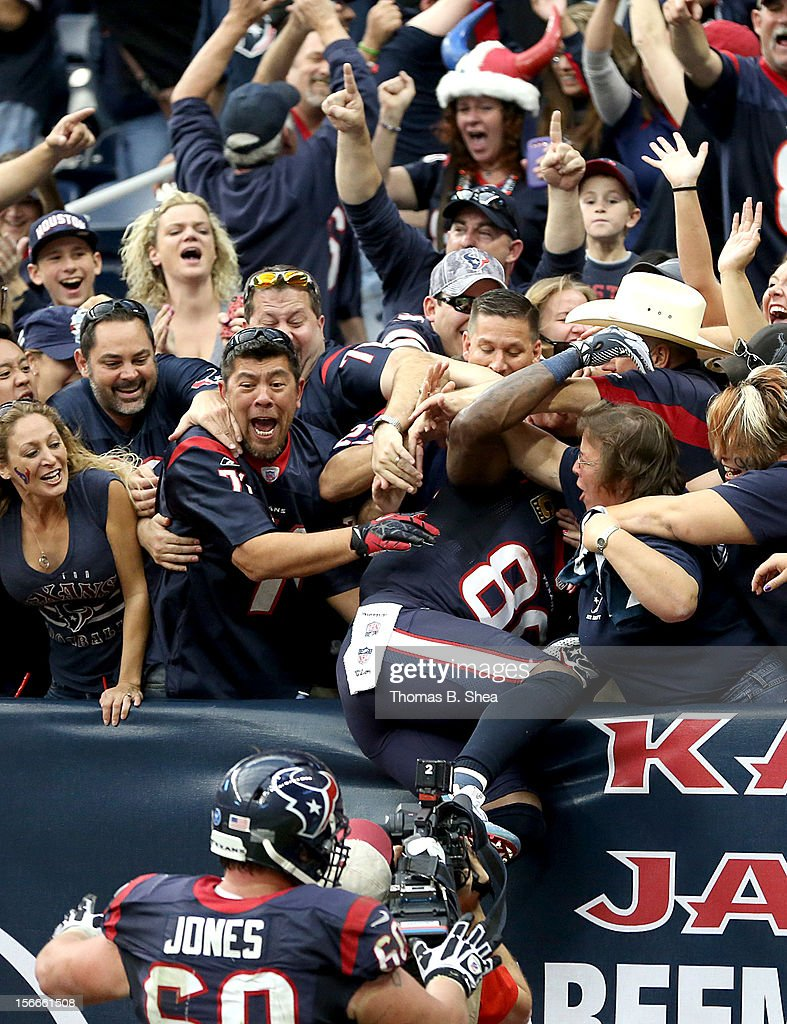 Andre Johnson #80 of the Houston Texans jumps into the crowd after he caught the winning touchdown in overtime against the Jacksonville Jaguars on November 18, 2012 at Reliant Stadium in Houston, Texas. Texans won 43 to 37 in overtime.
