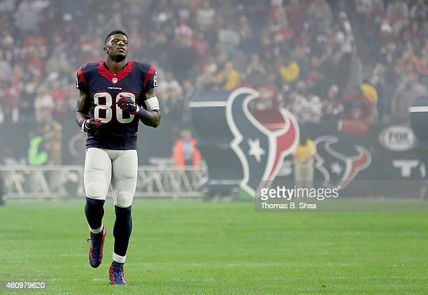 Andre Johnson of the Houston Texans warms up before playing the Jacksonville Jaguars in a NFL game on December 28 2014 at NRG Stadium in Houston Texas