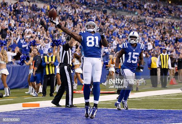 Andre Johnson of the Indianapolis Colts celebrates after scoring a touchdown against the Tennessee Titans at Lucas Oil Stadium on January 3 2016 in...