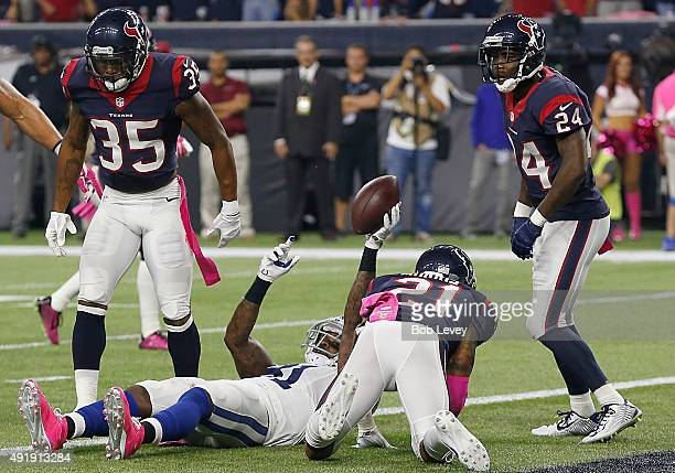 Andre Johnson of the Indianapolis Colts celebrates his touchdown catch against the Houston Texans in the fourth quarter on October 8 2015 at NRG...