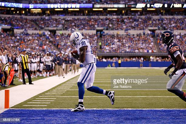 Andre Johnson of the Indianapolis Colts makes a reception for a twopoint conversion in the first half of a preseason game against the Chicago Bears...