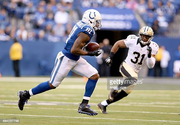 Andre Johnson of the Indianapolis Colts runs with the ball during the game against the New Orleans Saints at Lucas Oil Stadium on October 25 2015 in...