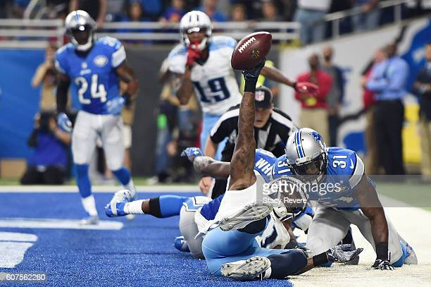 Andre Johnson of the Tennessee Titans scores a late touchdown against the Detroit Lions at Ford Field on September 18 2016 in Detroit Michigan The...
