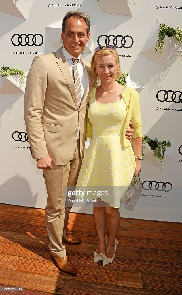 Andre Konsbruck, Director of Audi UK, and Christine Sieg attend day two of the Audi Polo Challenge at Coworth Park on May 29, 2016 in London, England.