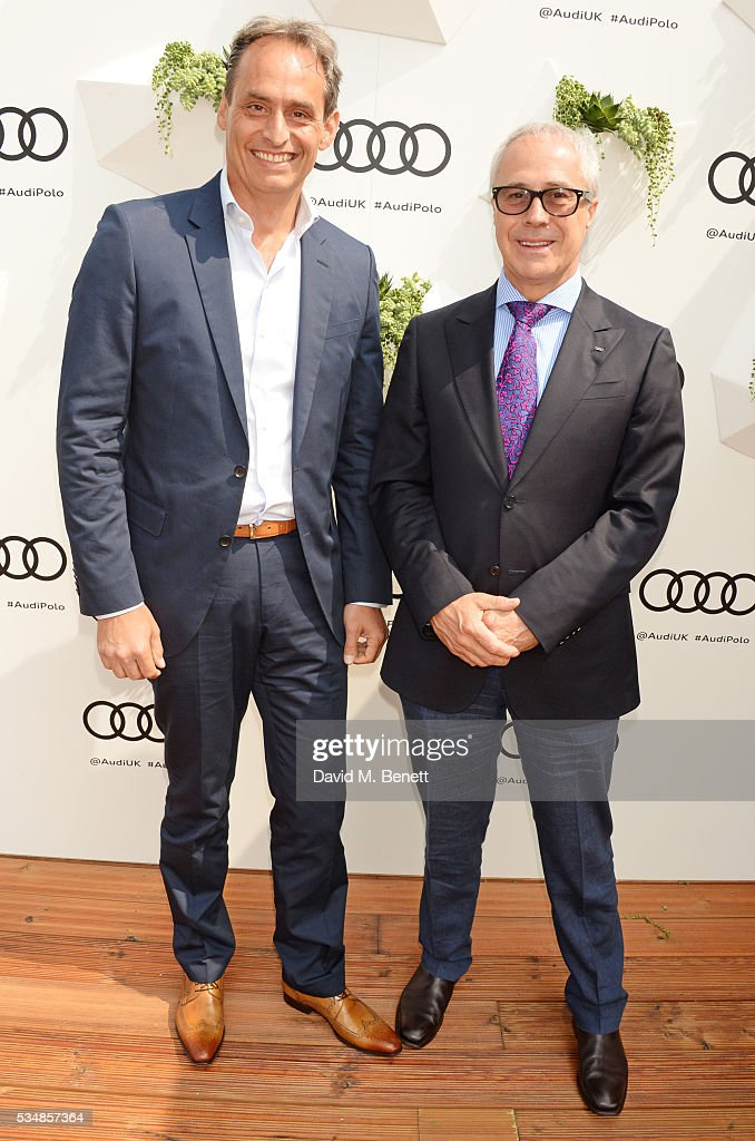 Andre Konsbruck, Director of Audi UK, and Jon Zammett, Head of PR for Audi UK, attend day one of the Audi Polo Challenge at Coworth Park on May 28, 2016 in London, England.