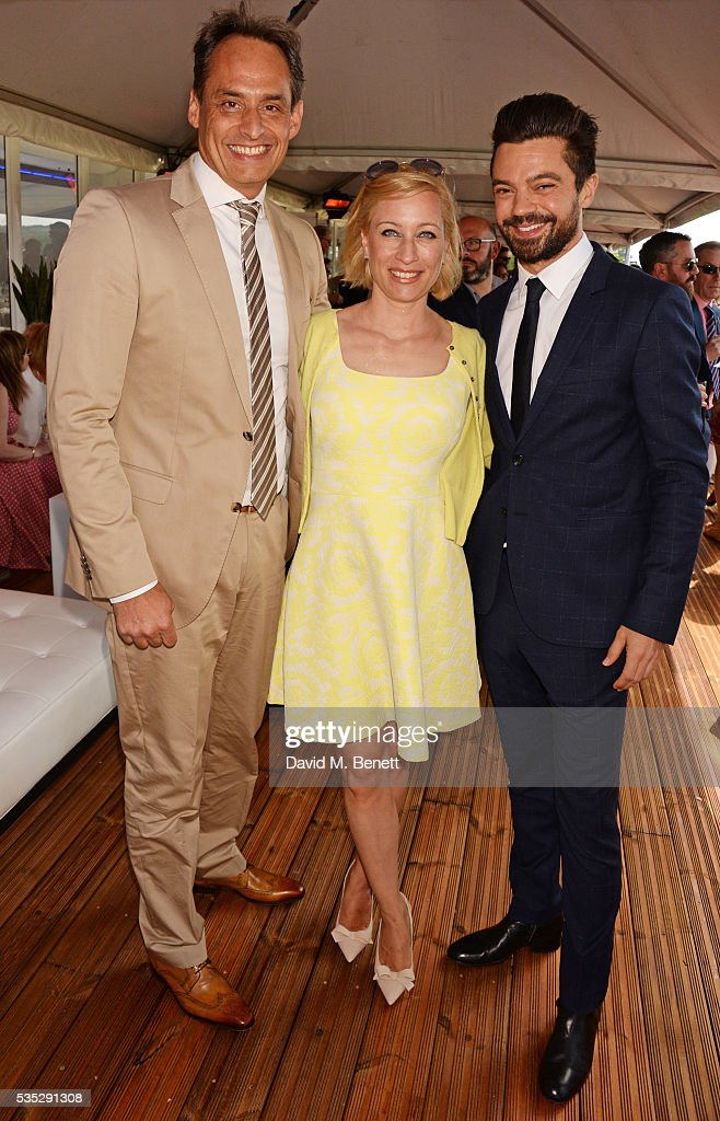 Andre Konsbruck, Director of Audi UK, Christine Sieg and <a gi-track='captionPersonalityLinkClicked' href=/galleries/search?phrase=Dominic+Cooper&family=editorial&specificpeople=863047 ng-click='$event.stopPropagation()'>Dominic Cooper</a> attend day two of the Audi Polo Challenge at Coworth Park on May 29, 2016 in London, England.