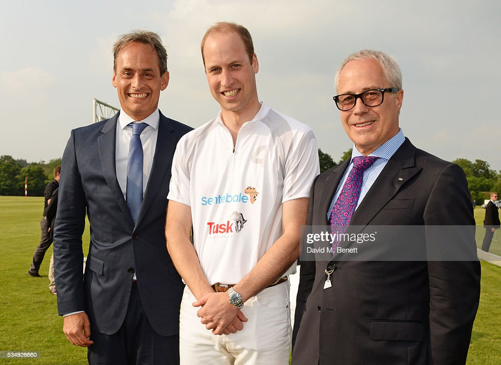 Andre Konsbruck, Director of Audi UK, Prince William, Duke of Cambridge and Jon Zammett, Head of PR for Audi UK, attend day one of the Audi Polo Challenge at Coworth Park on May 28, 2016 in London, England.