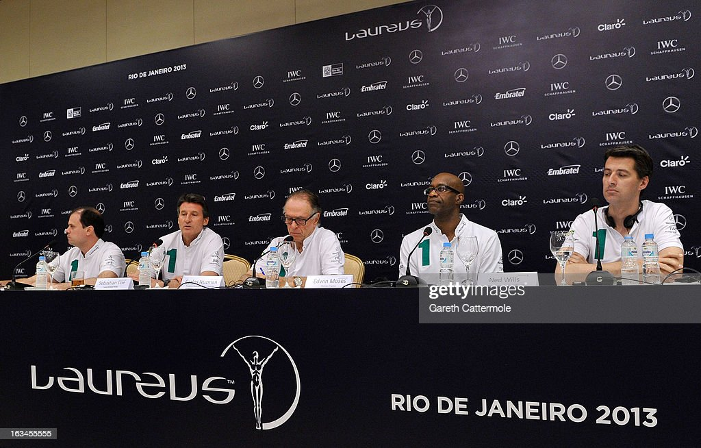 Andre Lazaroni, State Secretary of Sport for the State of Rio De Janerio, Laureus Academy Member Lord Sebastian Coe with Carlos Nuzman, Head of the Organising Commitee for Rio De Janeiro 2016, Laureus Academy Chairman Edwin Moses and Ned Willis, Global Director of Laureus Sport for Good Foundation attend the Sport and Development in Rio De Janerio Press Conference during the 2013 Laureus World Sports Awards on March 10, 2013 in Rio de Janeiro, Brazil.