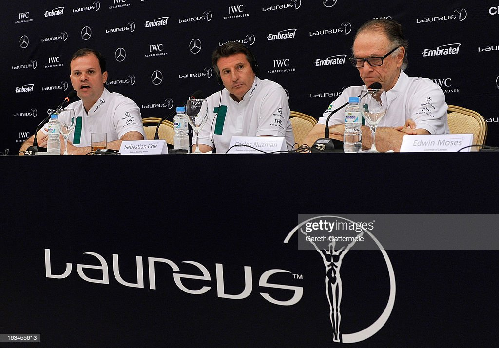 Andre Lazaroni, State Secretary of Sport for the State of Rio De Janerio, Laureus Academy Member Lord <a gi-track='captionPersonalityLinkClicked' href=/galleries/search?phrase=Sebastian+Coe&family=editorial&specificpeople=160624 ng-click='$event.stopPropagation()'>Sebastian Coe</a> with Carlos Nuzman, Head of the Organising Commitee for Rio De Janeiro 2016 attend the Sport and Development in Rio De Janerio Press Conference during the 2013 Laureus World Sports Awards on March 10, 2013 in Rio de Janeiro, Brazil.