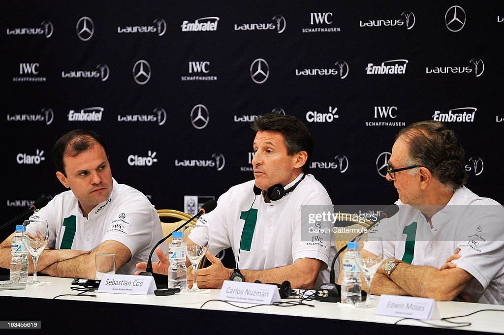 Andre Lazaroni, State Secretary of Sport for the State of Rio De Janerio, Laureus Academy Member Lord Sebastian Coe with Carlos Nuzman, Head of the Organising Commitee for Rio De Janeiro 2016 attend the Sport and Development in Rio De Janerio Press Conference during the 2013 Laureus World Sports Awards on March 10, 2013 in Rio de Janeiro, Brazil.