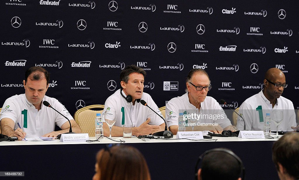 Andre Lazaroni, State Secretary of Sport for the State of Rio De Janerio, Laureus Academy Member Lord Sebastian Coe with Carlos Nuzman, Head of the Organising Commitee for Rio De Janeiro 2016, Laureus Academy Chairman Edwin Moses attend the Sport and Development in Rio De Janerio Press Conference during the 2013 Laureus World Sports Awards on March 10, 2013 in Rio de Janeiro, Brazil.