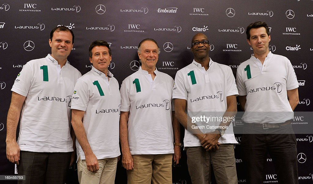 Andre Lazaroni, State Secretary of Sport for the State of Rio De Janerio, Laureus Academy Member Lord <a gi-track='captionPersonalityLinkClicked' href=/galleries/search?phrase=Sebastian+Coe&family=editorial&specificpeople=160624 ng-click='$event.stopPropagation()'>Sebastian Coe</a> with Carlos Nuzman, Head of the Organising Commitee for Rio De Janeiro 2016, Laureus Academy Chairman <a gi-track='captionPersonalityLinkClicked' href=/galleries/search?phrase=Edwin+Moses+-+Track+and+Field+Athlete&family=editorial&specificpeople=206882 ng-click='$event.stopPropagation()'>Edwin Moses</a> and Ned Willis, Global Director of Laureus Sport for Good Foundation attend the Sport and Development in Rio De Janerio Press Conference during the 2013 Laureus World Sports Awards on March 10, 2013 in Rio de Janeiro, Brazil.