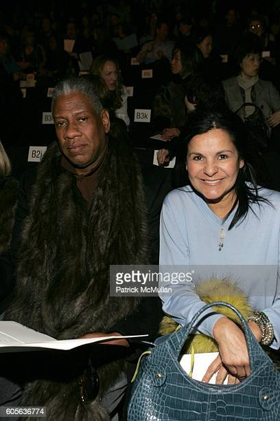 Andre Leon Talley and Candy Pratts Price attend Vera Wang Fall 2006 Fashion Show at The Tent at Bryant Park on February 9 2006 in New York City