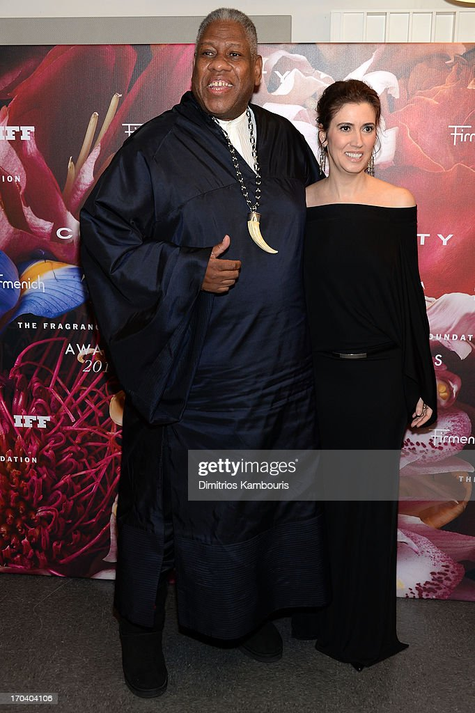 Andre Leon Talley (L) and Elizabeth Musmanno attend the 2013 Fragrance Foundation Awards at Alice Tully Hall at Lincoln Center on June 12, 2013 in New York City.