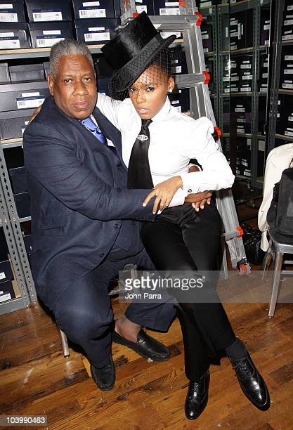 Andre Leon Talley and Janelle Monae attend the Ralph Lauren celebration of Fashion's Night Out at Ralph Lauren Soho on September 10 2010 in New York...