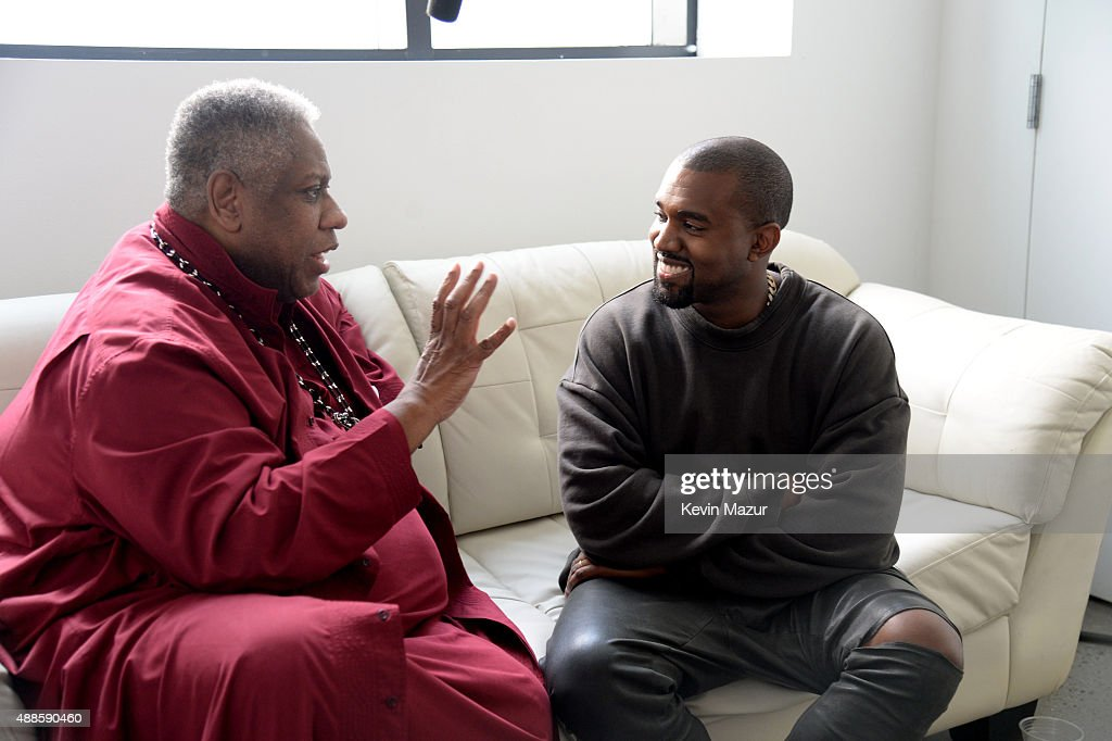 Andre Leon Talley and Kanye West attend Kanye West Yeezy Season 2 during New York Fashion Week at Skylight Modern on September 16, 2015 in New York City.