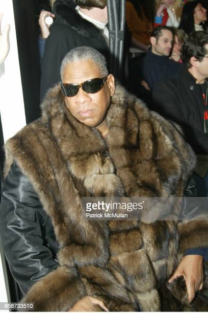 Andre Leon Talley attends the front row at Diane von Furstenberg Fashion Show at DVF Studios on February 8 2004 in New York City