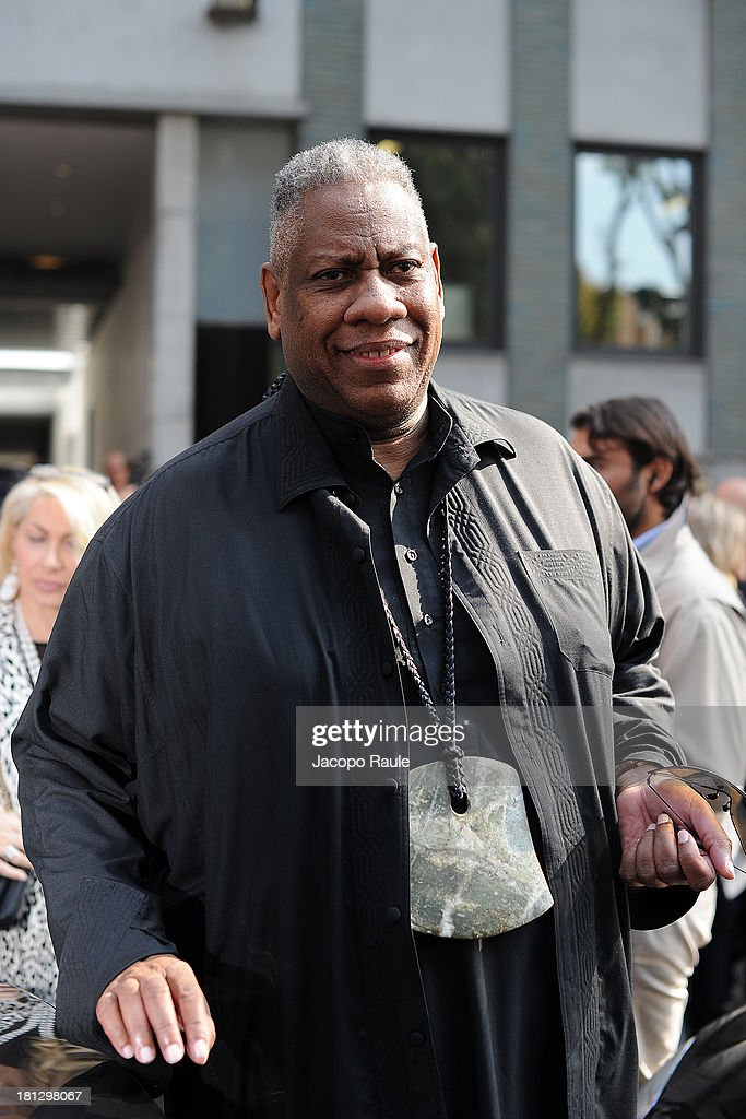 <a gi-track='captionPersonalityLinkClicked' href=/galleries/search?phrase=Andre+Leon+Talley&family=editorial&specificpeople=171165 ng-click='$event.stopPropagation()'>Andre Leon Talley</a> is seen arriving at Emporio Armani during Milan Fashion Week Womenswear Spring/Summer 2014 on September 20, 2013 in Milan, Italy.