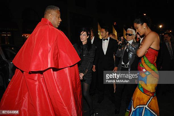 Andre Leon Talley Lady Amanda Harlech Sebastien Jondeau Karl Lagerfeld and Kimora Lee Simmons attend Nina Ricci after party for Met Ball hosted by...