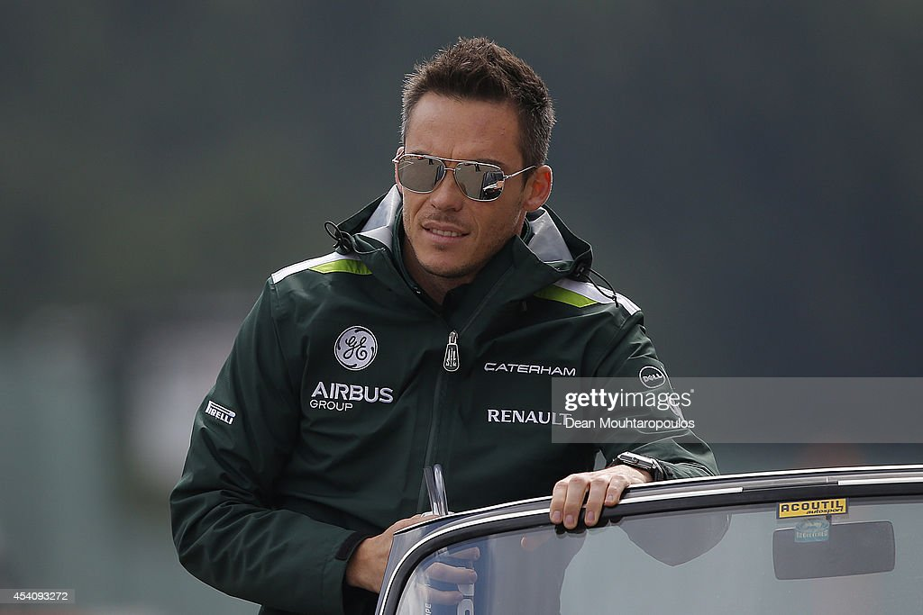 <a gi-track='captionPersonalityLinkClicked' href=/galleries/search?phrase=Andre+Lotterer&family=editorial&specificpeople=2380096 ng-click='$event.stopPropagation()'>Andre Lotterer</a> of Germany and Caterham looks on during the drivers' parade before the Belgian Grand Prix at Circuit de Spa-Francorchamps on August 24, 2014 in Spa, Belgium.