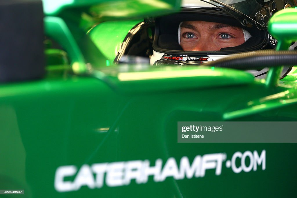 <a gi-track='captionPersonalityLinkClicked' href=/galleries/search?phrase=Andre+Lotterer&family=editorial&specificpeople=2380096 ng-click='$event.stopPropagation()'>Andre Lotterer</a> of Germany and Caterham sits in his car during practice ahead of the Belgian Grand Prix at Circuit de Spa-Francorchamps on August 22, 2014 in Spa, Belgium.