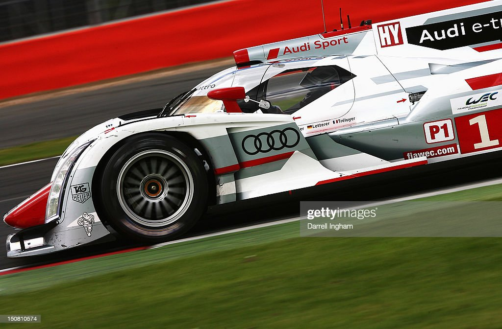 <a gi-track='captionPersonalityLinkClicked' href=/galleries/search?phrase=Andre+Lotterer&family=editorial&specificpeople=2380096 ng-click='$event.stopPropagation()'>Andre Lotterer</a> of Germany drives the #1 Audi Sport Team Joest Audi R18 e-tron Quattro during the FIA World Endurance Championship 6 Hours of Silverstone race at the Silverstone Circuit on August 26, 2012 in Towcester, United Kingdom.
