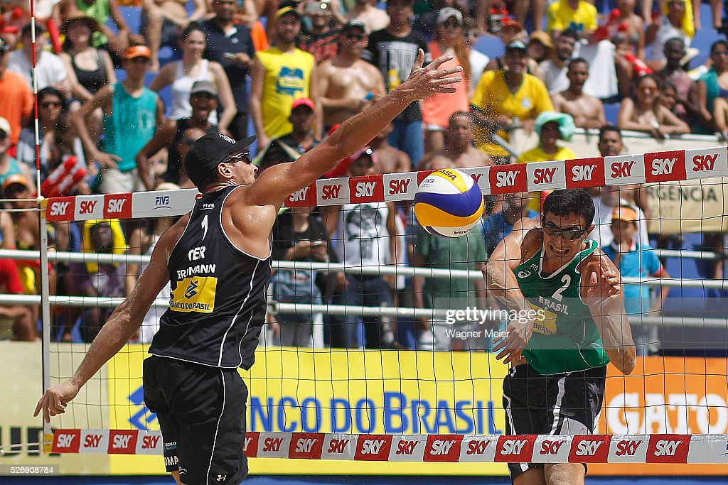 Andre Loyola of Brazil in action during Gold Medal match against Germany during the FIVB Fortaleza Open on Futuro Beach on May 01, 2016 in Fortaleza, Brazil.