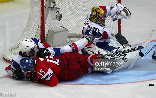 Andre Lysenstoen goalkeeper of Norway saves the shoot of Jan Marek of Norway during the IIHF World Ice Hockey Championship preliminary round group D...