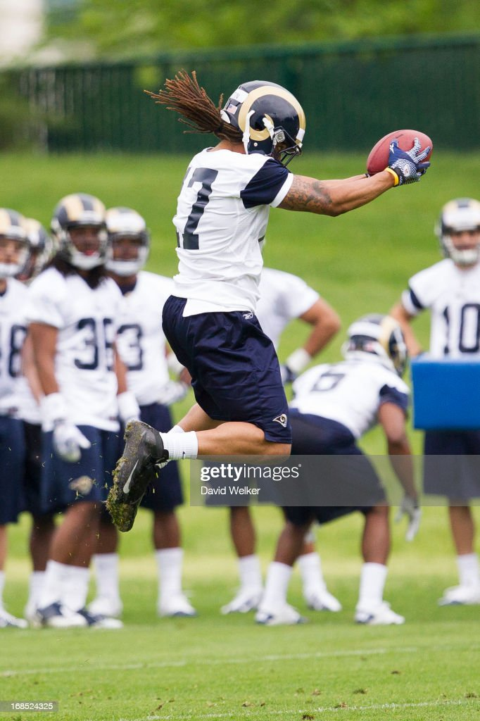 Andre Martin (17) of the St. Louis Rams catches a ball while performing a drill during the 2013 St. Louis Rams rookie camp at Rams Park on May 10, 2013 in Earth City, Missouri.