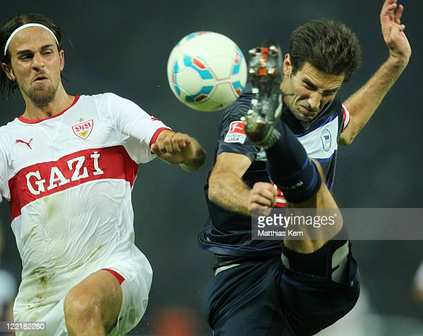 Andre Mijatovic of Berlin battles for the ball with Martin Harnik of Stuttgart during the Bundesliga match between Hertha BSC Berlin and VFB...