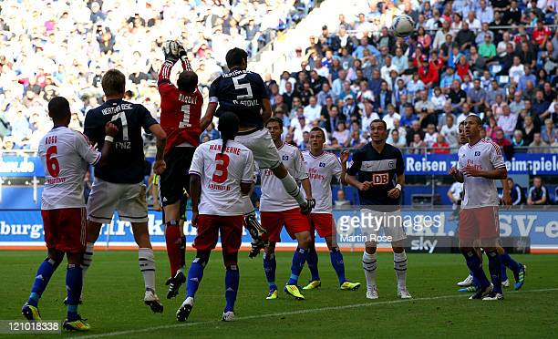 Andre Mijatovic of Berlin heads his team's equalizing goal during the Bundesliga match between Hamburger SV and Hertha BSC Berlin at Imtech Arena on...