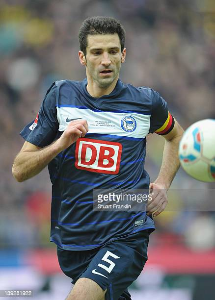 Andre Mijatovic of Berlin in action during the Bundesliga match between Hertha BSC Berlin and Borussia Dortmund at Olympic Stadium on February 18...