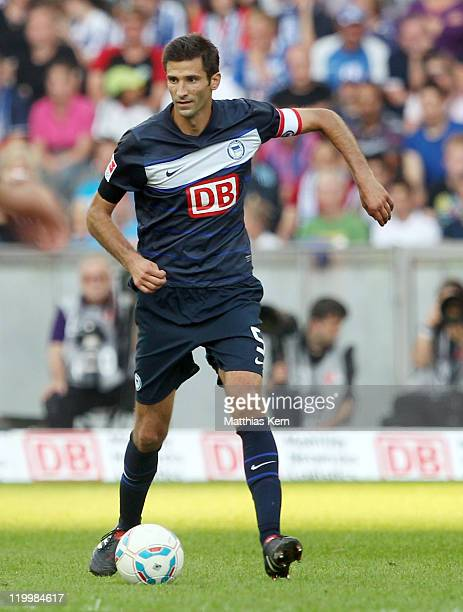 Andre Mijatovic of Berlin runs with the ball during the preseason friendly match between Hertha BSC Berlin and Real Madrid at Olympic Stadium on July...