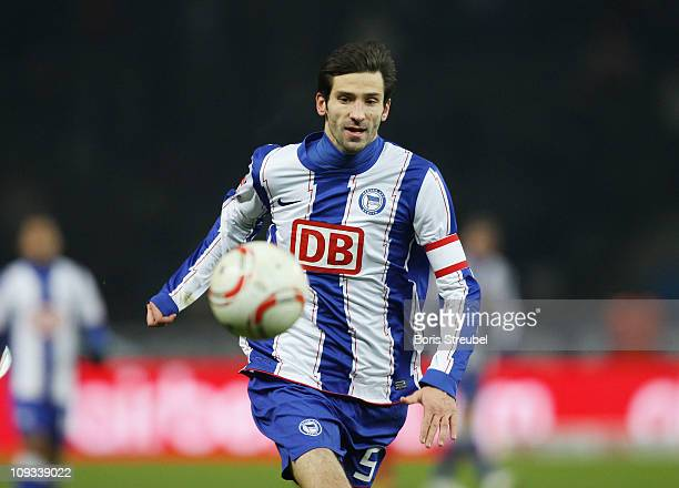 Andre Mijatovic of Berlin runs with the ball during the Second Bundesliga match between Hertha BSC Berlin and FC Energie Cottbus at Olympic Stadium...