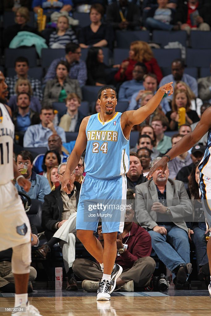 Andre Miller #24 of the Denver Nuggets calls a play vs the Memphis Grizzlies on November 19, 2012 at FedExForum in Memphis, Tennessee.