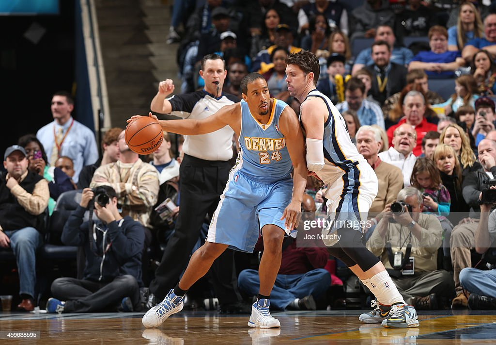 Andre Miller #24 of the Denver Nuggets controls the ball against Mike Miller #13 of the Memphis Grizzlies on December 28, 2013 at FedExForum in Memphis, Tennessee.