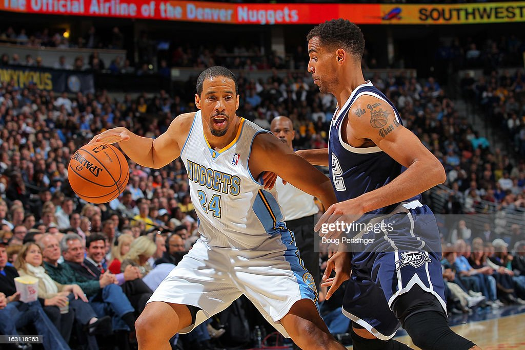 <a gi-track='captionPersonalityLinkClicked' href=/galleries/search?phrase=Andre+Miller&family=editorial&specificpeople=201678 ng-click='$event.stopPropagation()'>Andre Miller</a> #24 of the Denver Nuggets controls the ball against <a gi-track='captionPersonalityLinkClicked' href=/galleries/search?phrase=Thabo+Sefolosha&family=editorial&specificpeople=587449 ng-click='$event.stopPropagation()'>Thabo Sefolosha</a> #2 of the Oklahoma City Thunder at the Pepsi Center on March 1, 2013 in Denver, Colorado. The Nuggets defeated the Thunder 105-103.