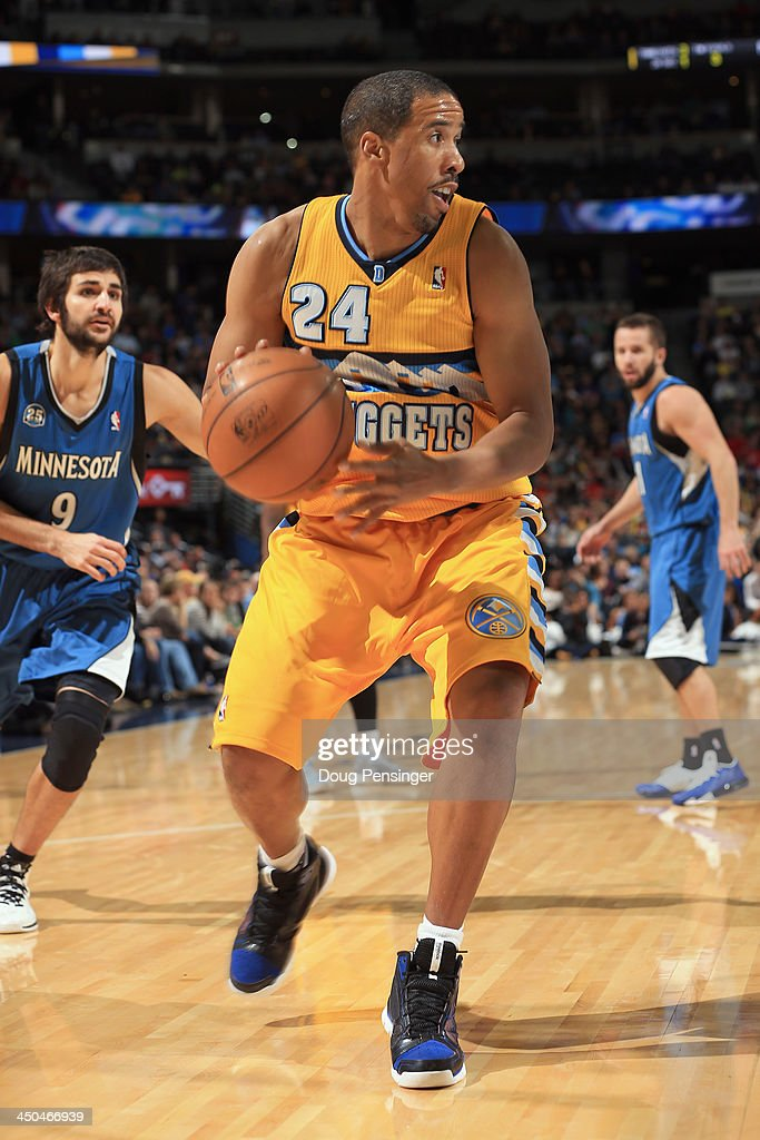<a gi-track='captionPersonalityLinkClicked' href=/galleries/search?phrase=Andre+Miller&family=editorial&specificpeople=201678 ng-click='$event.stopPropagation()'>Andre Miller</a> #24 of the Denver Nuggets controls the ball against the Minnesota Timberwolves at Pepsi Center on November 15, 2013 in Denver, Colorado. The Nuggets defeated the Timberwolves 117-113.