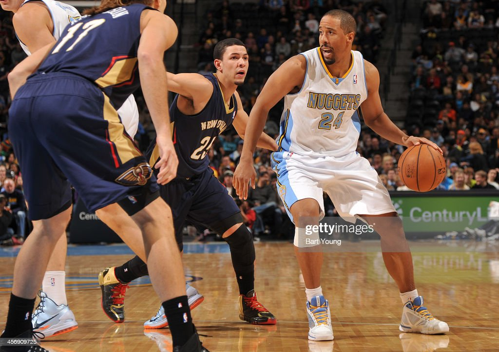 Andre Miller #24 of the Denver Nuggets dribbles the ball against the New Orleans Pelicans on December 15, 2013 at the Pepsi Center in Denver, Colorado.