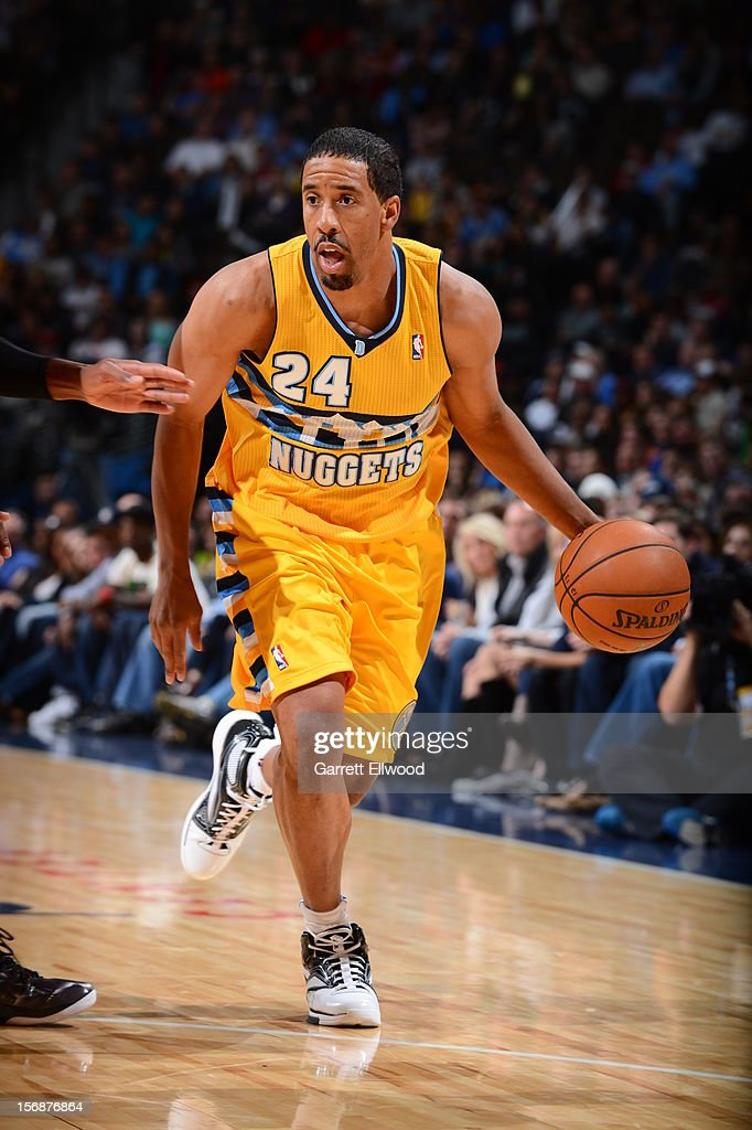 <a gi-track='captionPersonalityLinkClicked' href=/galleries/search?phrase=Andre+Miller&family=editorial&specificpeople=201678 ng-click='$event.stopPropagation()'>Andre Miller</a> #24 of the Denver Nuggets dribbles the ball upcourt against the Miami Heat on November 15, 2012 at the Pepsi Center in Denver, Colorado.