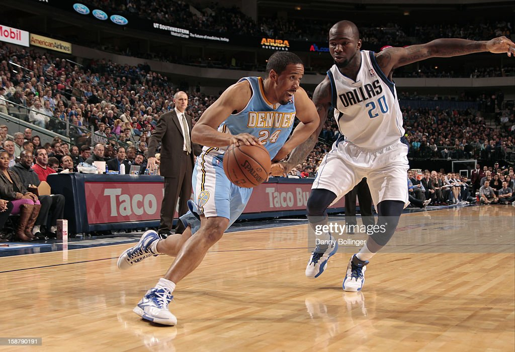 Andre Miller #24 of the Denver Nuggets drives to the basket against Dominique Jones #20 of the Dallas Mavericks on December 28, 2012 at the American Airlines Center in Dallas, Texas.
