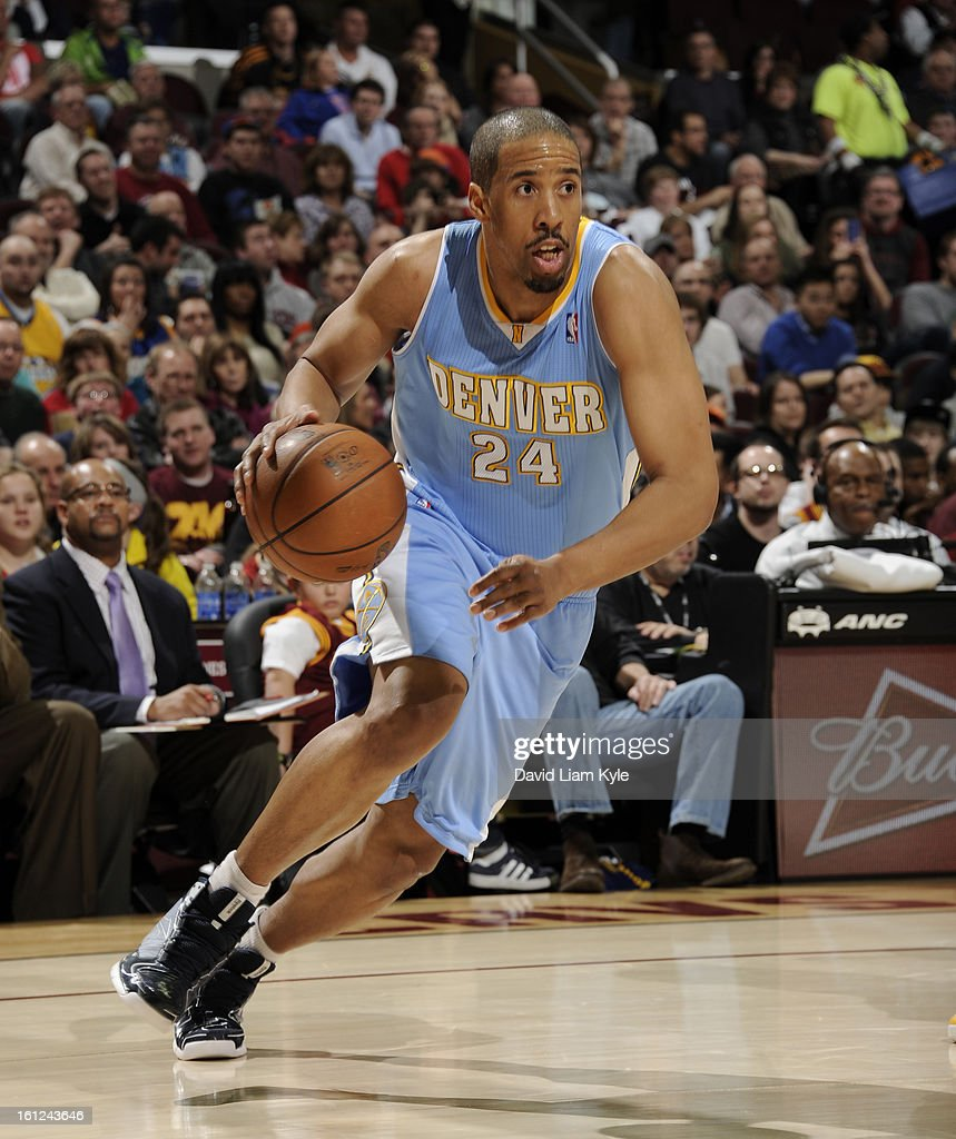 <a gi-track='captionPersonalityLinkClicked' href=/galleries/search?phrase=Andre+Miller&family=editorial&specificpeople=201678 ng-click='$event.stopPropagation()'>Andre Miller</a> #24 of the Denver Nuggets drives to the basket against the Cleveland Cavaliers at The Quicken Loans Arena on February 9, 2013 in Cleveland, Ohio.