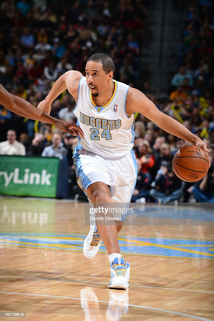 <a gi-track='captionPersonalityLinkClicked' href=/galleries/search?phrase=Andre+Miller&family=editorial&specificpeople=201678 ng-click='$event.stopPropagation()'>Andre Miller</a> #24 of the Denver Nuggets drives to the basket against the New Orleans Hornets on February 1, 2013 at the Pepsi Center in Denver, Colorado.