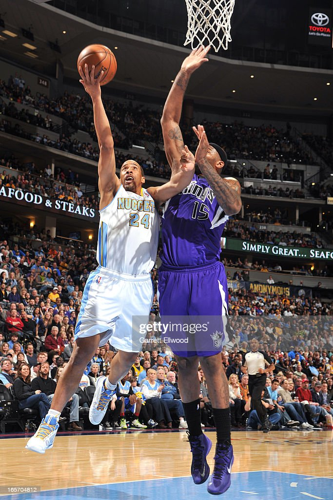 Andre Miller #24 of the Denver Nuggets drives to the basket against the Sacramento Kings on March 23, 2012 at the Pepsi Center in Denver, Colorado.