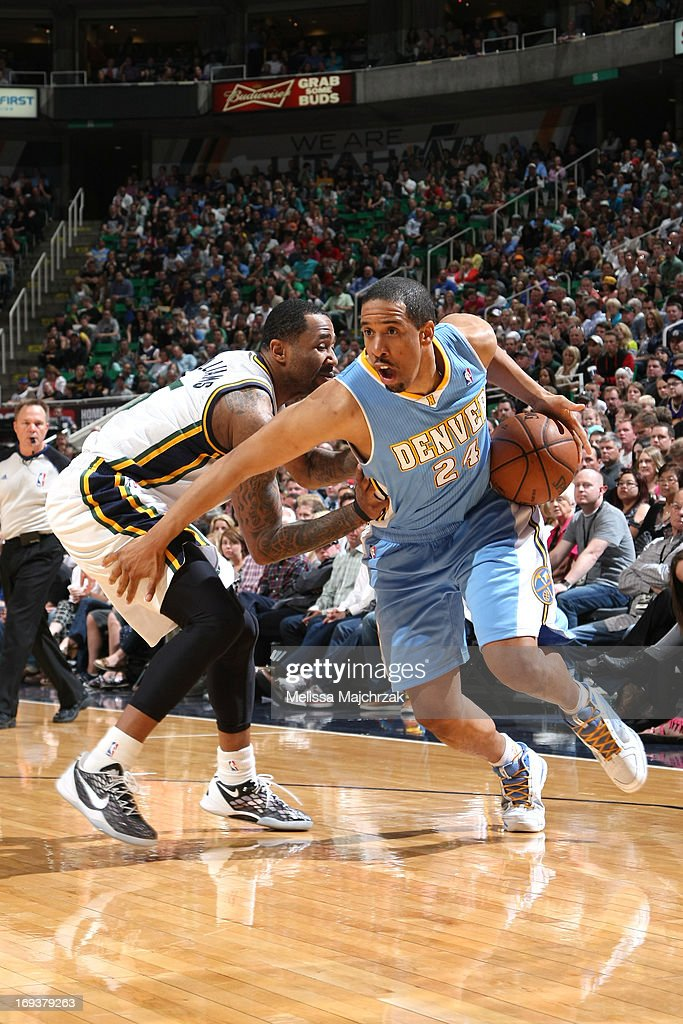 Andre Miller #24 of the Denver Nuggets drives to the basket against the Utah Jazz at Energy Solutions Arena on April 3, 2013 in Salt Lake City, Utah.