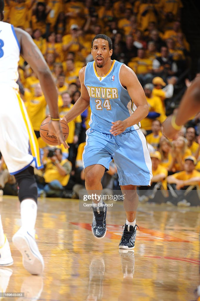 <a gi-track='captionPersonalityLinkClicked' href=/galleries/search?phrase=Andre+Miller&family=editorial&specificpeople=201678 ng-click='$event.stopPropagation()'>Andre Miller</a> #24 of the Denver Nuggets drives up-court against the Golden State Warriors in Game Three of the Western Conference Quarterfinals during the 2013 NBA Playoffs on April 26, 2013 at the Oracle Arena in Oakland, California.