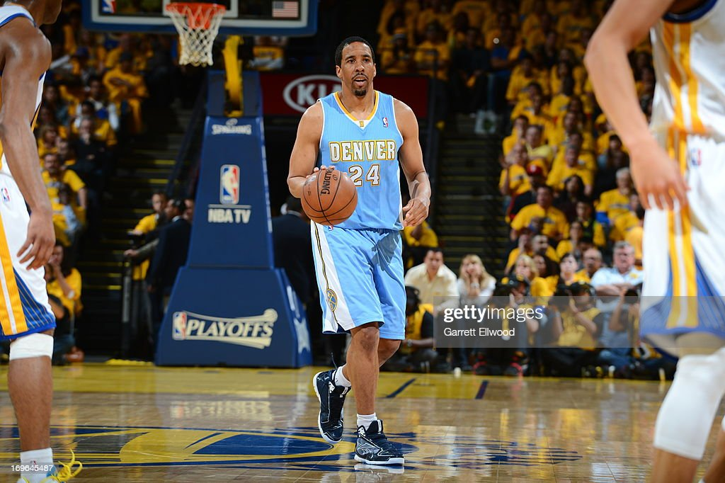 <a gi-track='captionPersonalityLinkClicked' href=/galleries/search?phrase=Andre+Miller&family=editorial&specificpeople=201678 ng-click='$event.stopPropagation()'>Andre Miller</a> #24 of the Denver Nuggets handles the ball against the Golden State Warriors in Game Three of the Western Conference Quarterfinals during the 2013 NBA Playoffs on April 26, 2013 at the Oracle Arena in Oakland, California.