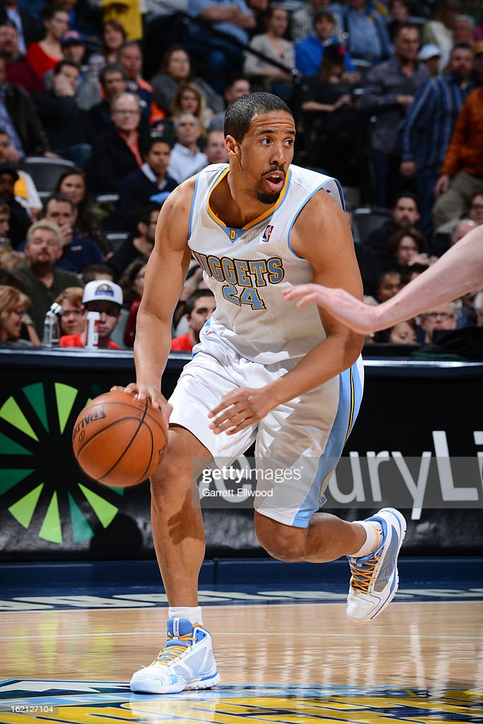 <a gi-track='captionPersonalityLinkClicked' href=/galleries/search?phrase=Andre+Miller&family=editorial&specificpeople=201678 ng-click='$event.stopPropagation()'>Andre Miller</a> #24 of the Denver Nuggets handles the ball against the Houston Rockets on January 30, 2013 at the Pepsi Center in Denver, Colorado.