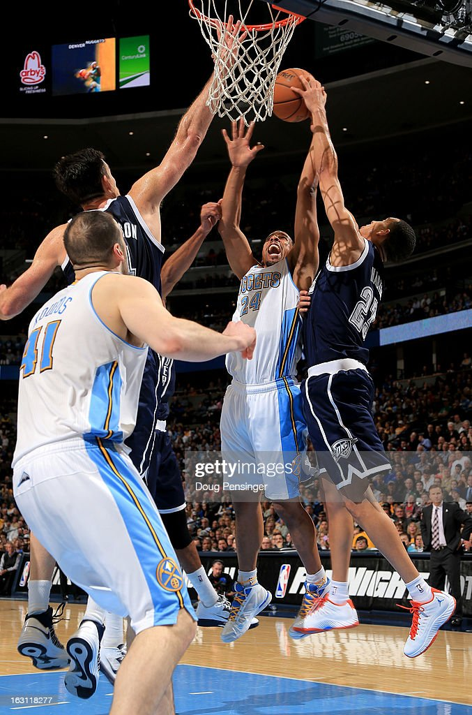 <a gi-track='captionPersonalityLinkClicked' href=/galleries/search?phrase=Andre+Miller&family=editorial&specificpeople=201678 ng-click='$event.stopPropagation()'>Andre Miller</a> #24 of the Denver Nuggets has his shot blocked by <a gi-track='captionPersonalityLinkClicked' href=/galleries/search?phrase=Kevin+Martin+-+Basketball+Player&family=editorial&specificpeople=204503 ng-click='$event.stopPropagation()'>Kevin Martin</a> #23 of the Oklahoma City Thunder at the Pepsi Center on March 1, 2013 in Denver, Colorado. The Nuggets defeated the Thunder 105-103.