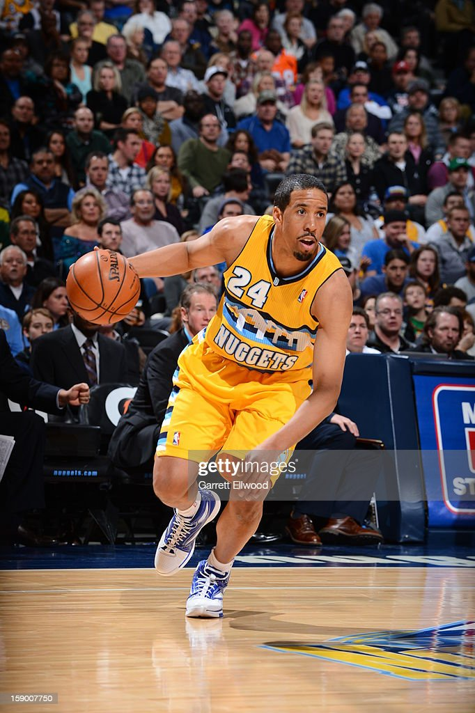 <a gi-track='captionPersonalityLinkClicked' href=/galleries/search?phrase=Andre+Miller&family=editorial&specificpeople=201678 ng-click='$event.stopPropagation()'>Andre Miller</a> #24 of the Denver Nuggets looks to drive to the basket against the Los Angeles Clippers on January 1, 2013 at the Pepsi Center in Denver, Colorado.
